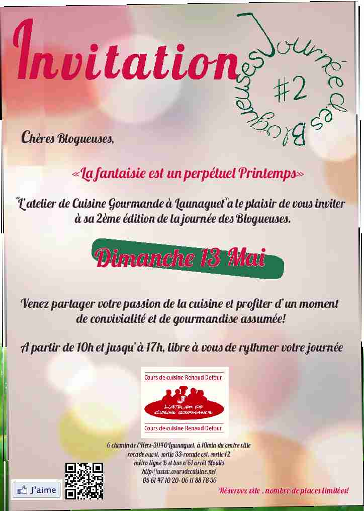 Toulouse et alentours la journ e des blogueuses - Offrir des cours de cuisine ...